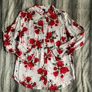 H&M Divided Button Down Floral blouse size 2 NWT